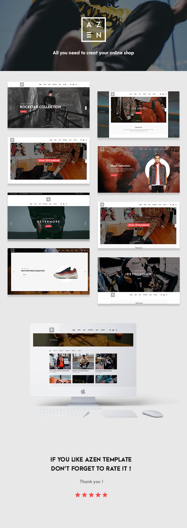 Azen - Clean, Minimal Shop WordPress WooCommerce Theme - 1