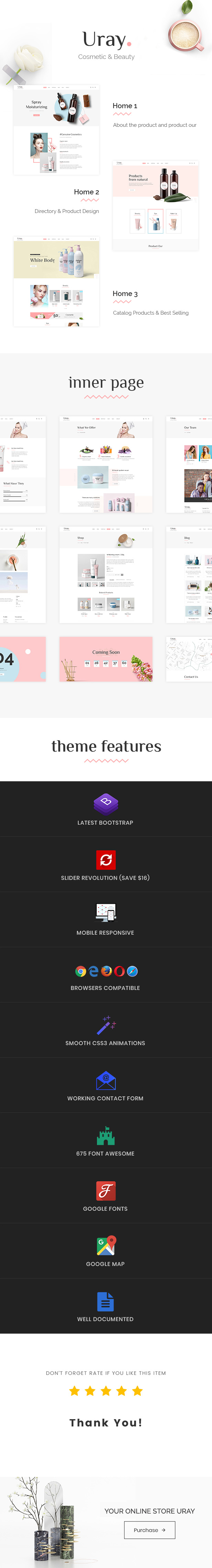 Uray - Cosmetic & Beauty Shop HTML5 Template - 1