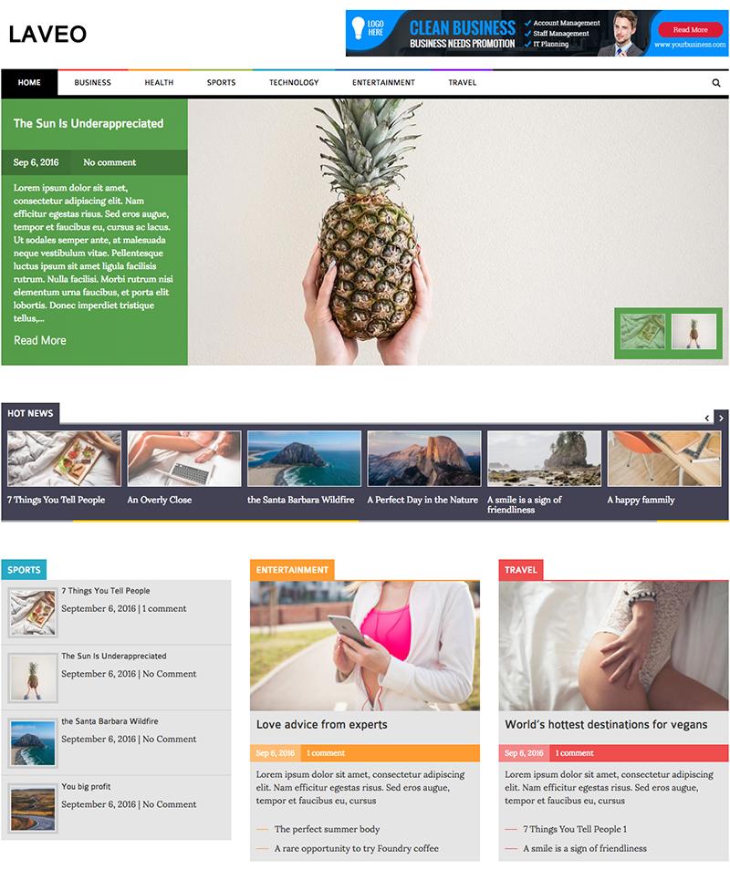 Laveo - Responsive Blog, News WordPress Theme - PhysCode