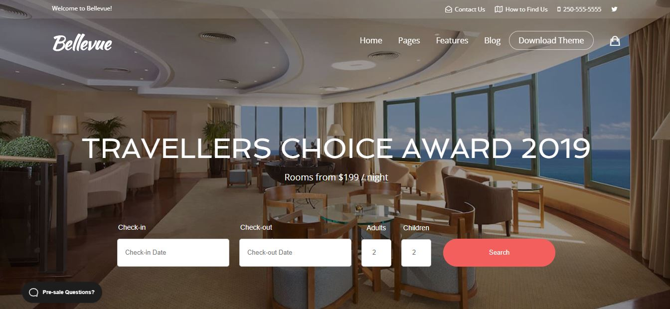 bellevue theme for hotel rooms